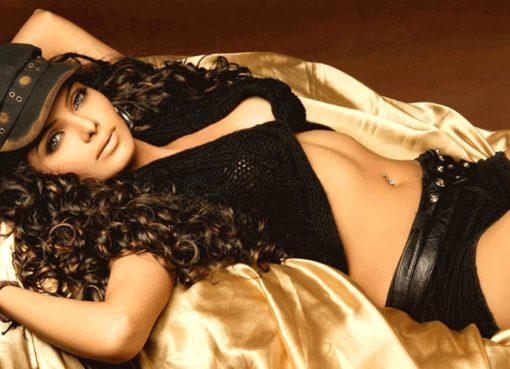Sherlyn Chopra strikes pose in black bikini and shorts